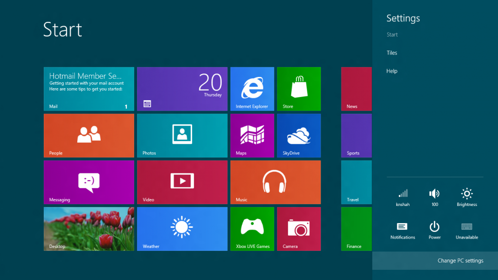 Change PC Settings Windows 8
