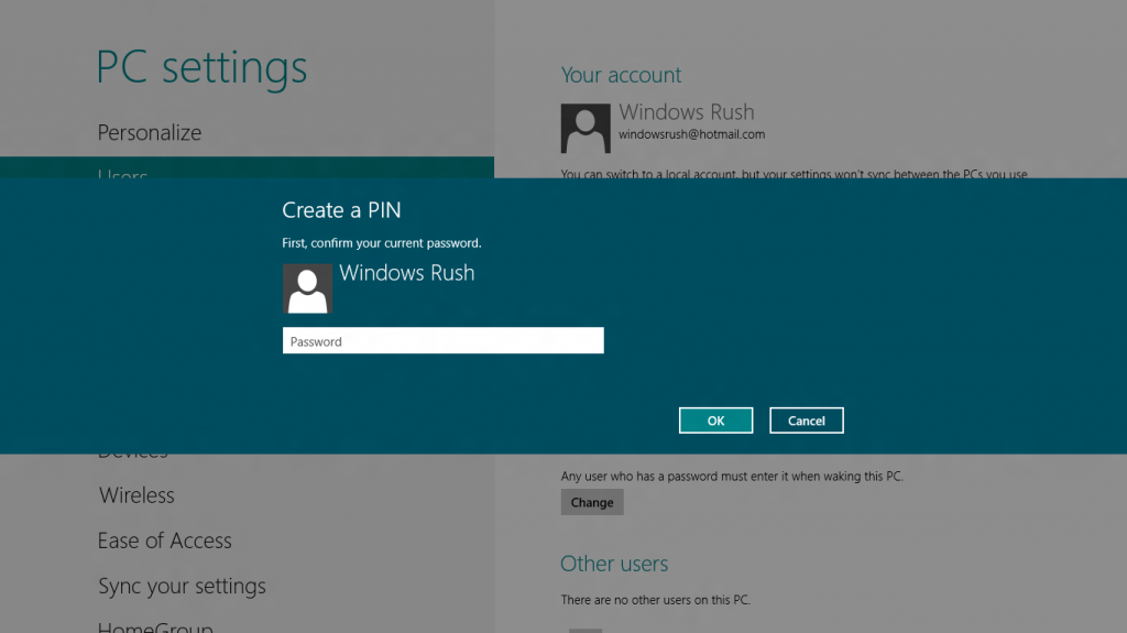 Password confirmation before PIN creation